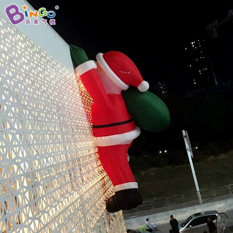 Trasporto libero 8 metri gigante gonfiabile Di Natale Babbo natale arrampicata decorazione della parete per la pubblicità su misura festival giocattoli