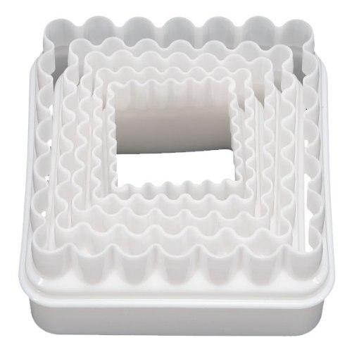 fjs 5 pcs blanc moule carre en plastique biscuit patisserie gateau fondant pate emporte piece. Black Bedroom Furniture Sets. Home Design Ideas