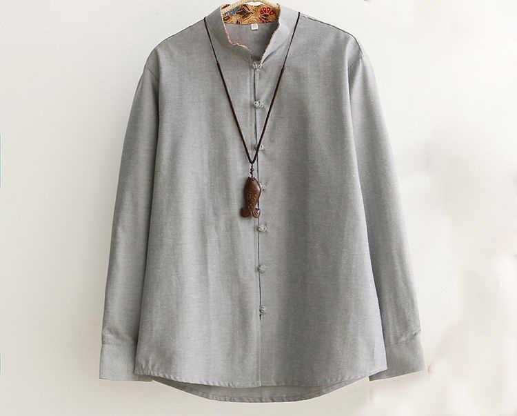 5色中国綿男性唐スーツ長袖ジャケット詠春カンフートップス築く瞑想制服服ブラック/グレー