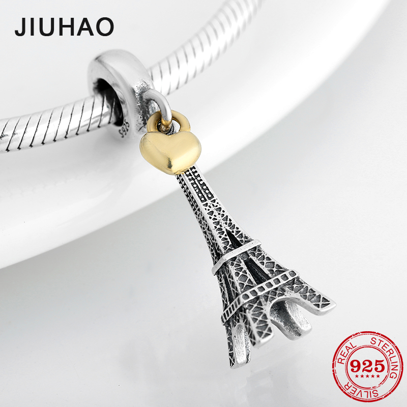 New 925 Sterling Silver Fashion Capital Paris Eiffel Tower Pendant Beads Fit Original Pandora Diy Bracelet Charms Jewelry Making