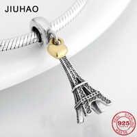 New 925 Sterling Silver Fashion capital Paris Eiffel Tower Pendant Beads Fit Original Pandora Diy Bracelet Charms Jewelry making