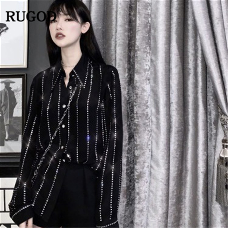 RUGOD 2019 Fashion diamonds beading women shirts long sleeves turn down collar party wearing elegant women tops and blouses