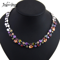Luxury Mona Lisa Multicolor Cubic Zirconia Stone Necklace Pendant For Women Statement Necklace Jewelry Christmas Gifts