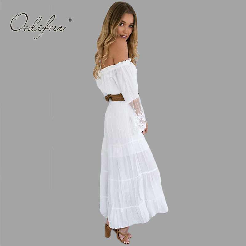 1e1dd7b844c7 2019 Summer Sundress Long Women White Beach Dress Strapless Long Sleeve  Loose Sexy Off Shoulder Lace Boho Cotton Maxi Dress-in Dresses from Women s  Clothing ...