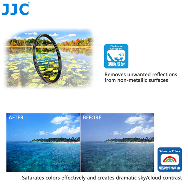 JJC F-WCPL (S+) Different Size Ultra Slim 9H Glass 99.8% Light Transmission Multi-Coated CPL Camera Filters  (From 37mm to 82mm)