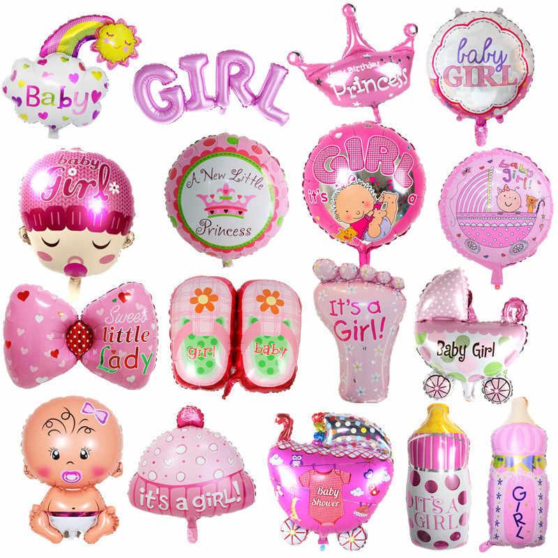 Folia balony Baby Boy balony dekoracyjne 1th wózek dla dziecka piłka dla dziewczyny urodziny nadmuchiwane dekoracje świąteczne dla dzieci kapelusz kreskówka