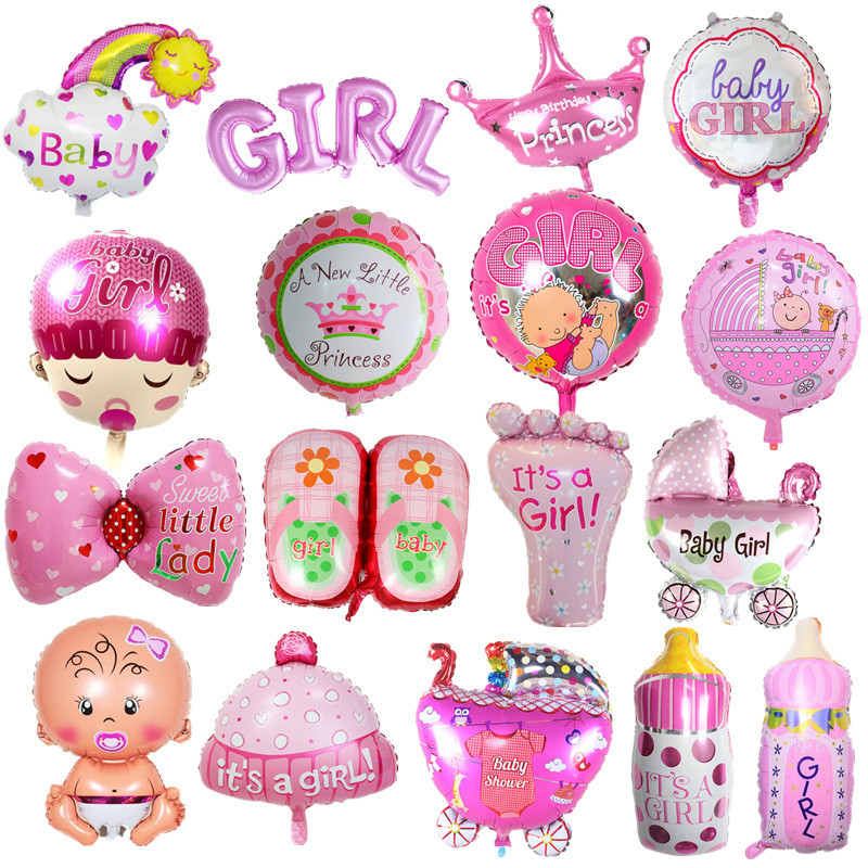 Foil Balloons Baby Boy Air Balloons 1th Baby Stroller Ball For Girl Birthday Inflatable Party Decorations Kids Cartoon Hat