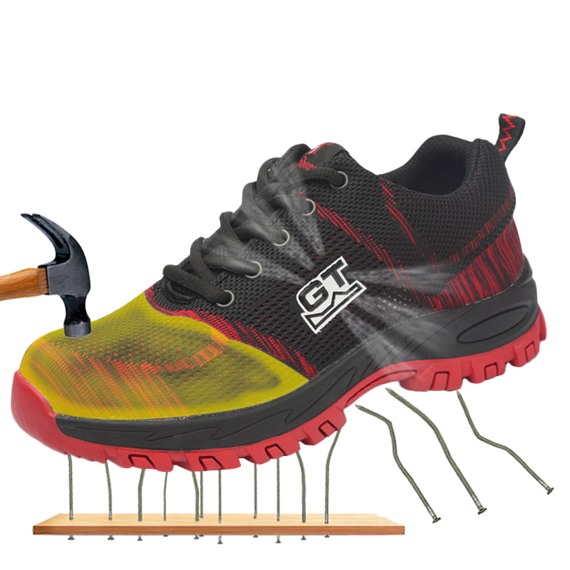 Steel Toe Safety Shoes Men Women Summer Breathable Mesh Industrial & Construction Puncture Proof Work Shoes Protective Footwear