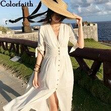 Holiday-Dresses V-Neck Pleated Colorfaith Spring Summer Elegant Sexy Long Vintage Women Beach