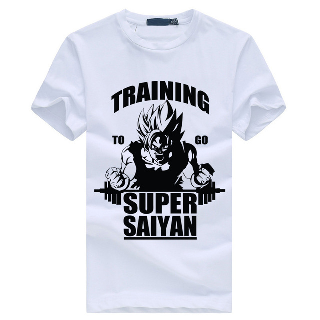 new black style summer to go Super Saiyan T short-sleeved male casual cotton men's shirt Dragon Ball Z Goku bodybuilding top