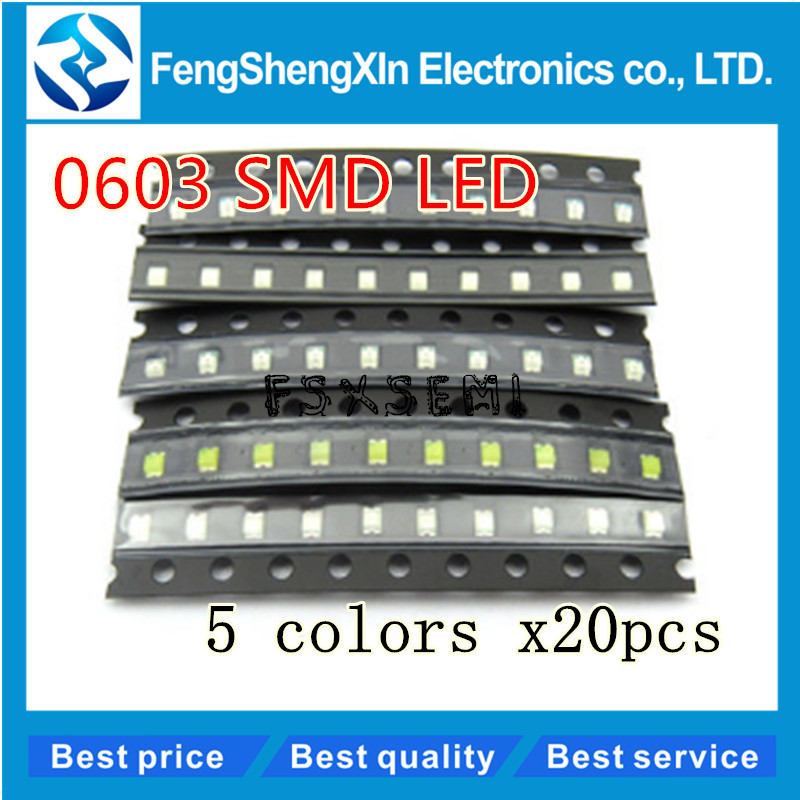 100pcs/lot New 0603 SMD LED  Red/Green/Blue/Yellow/White  5values colors each 20pcs