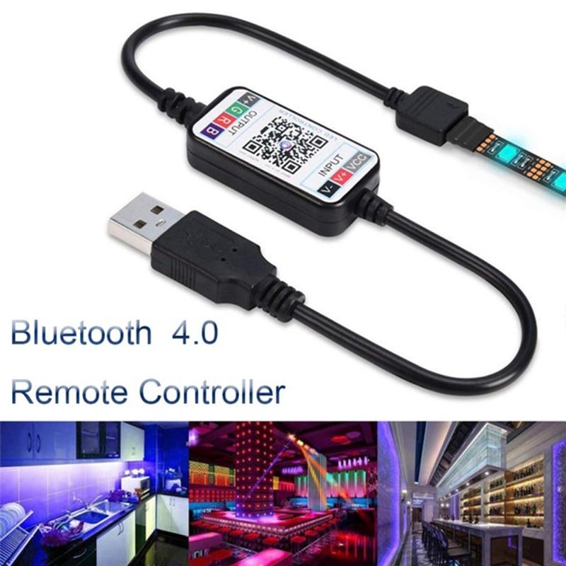 Hot Mini Wireless RGB LED Strip Light Controller 5-24V Smart Phone Control USB Cable Bluetooth 4.0 Home Decor LED Light Lamp Kit