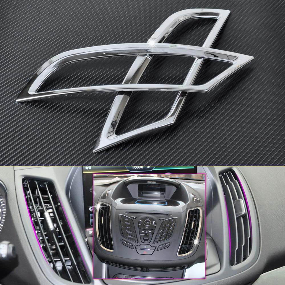 CITALL 2pcs New Chrome Dashboard Air Vent Outlet Cover Trim Garnish for Ford KUGA ESCAPE 2013 2014 2015