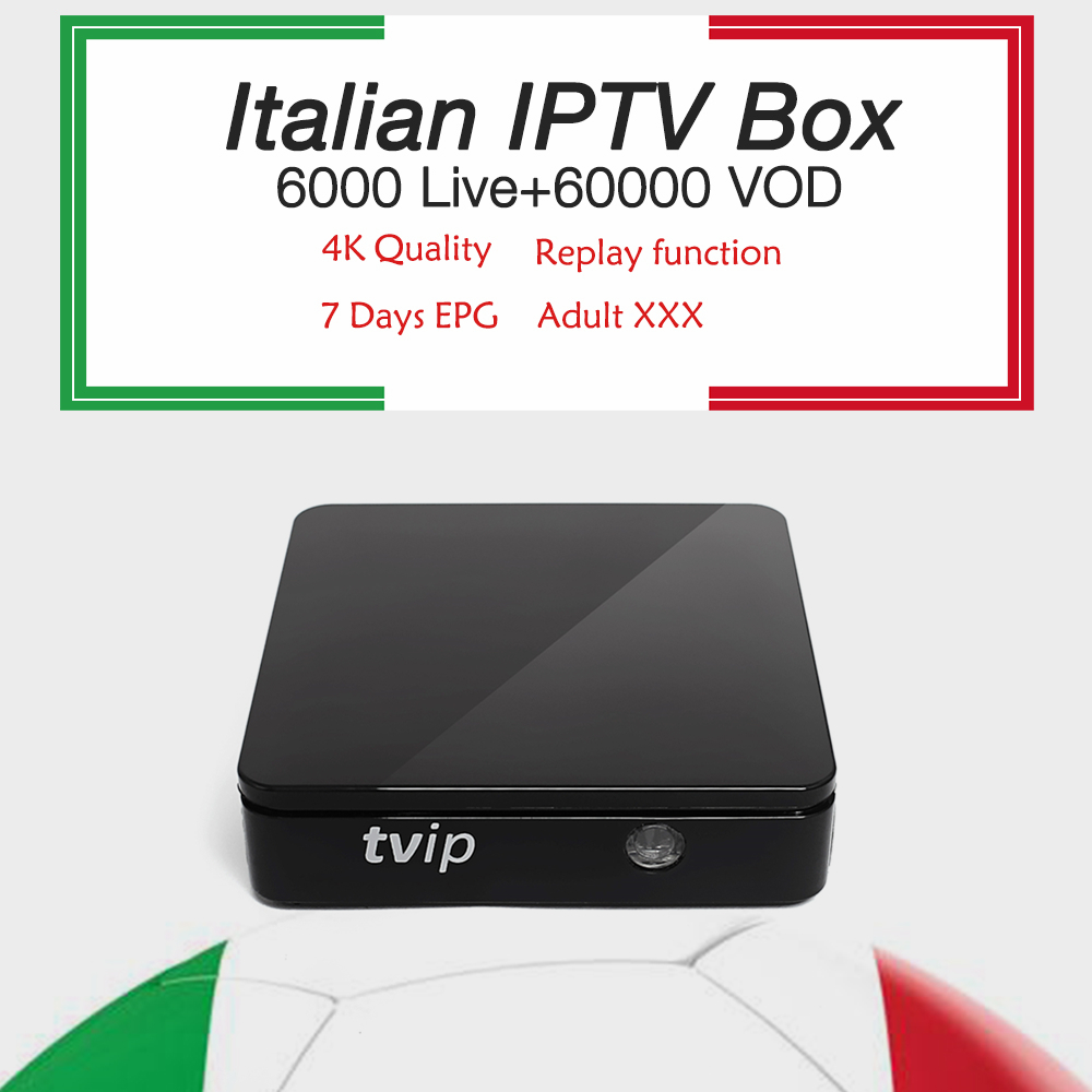 TVIP 412 tv box with android Linux OS+1 year itlay Dutch iptv subscription 6000 live xxx iptv EPG support tv box free shipping