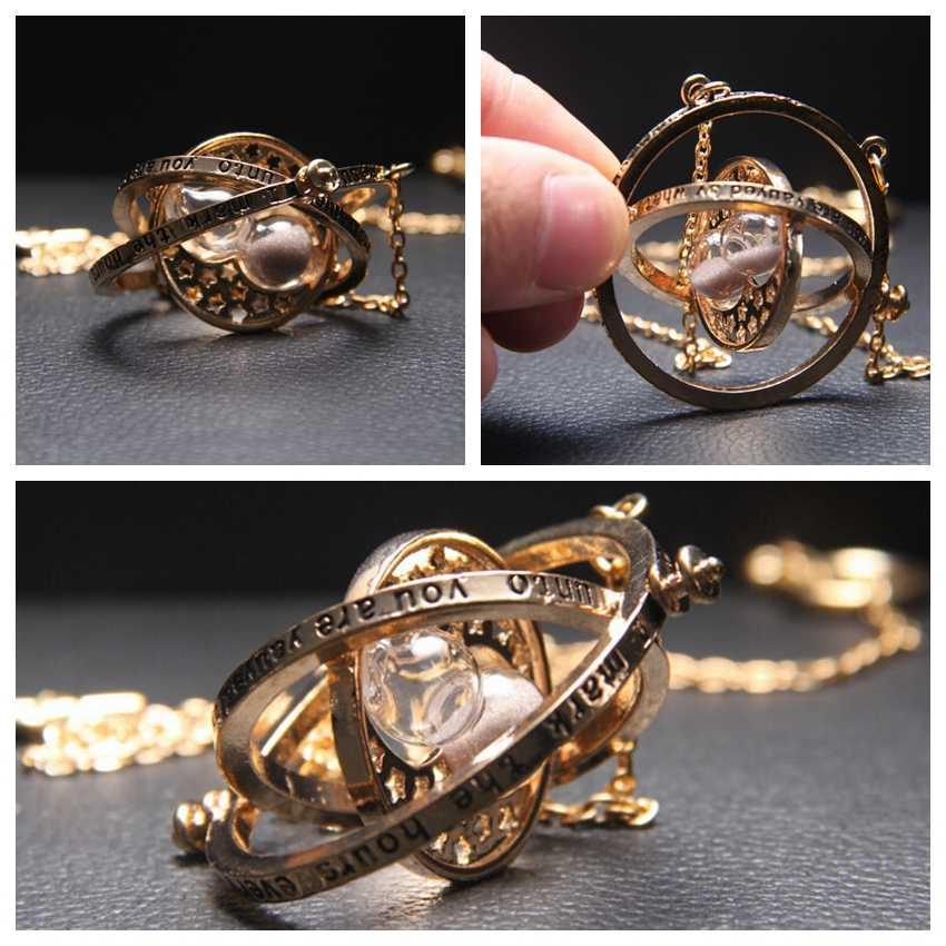 Гарри Поттер фильм прибор для поворота времени вспять ожерелье с песочными часами шесть фаланги волшебный брелок для ключей подвеска металлическая фигура кольцо для ключей с игрушкой Цепочки и ожерелья