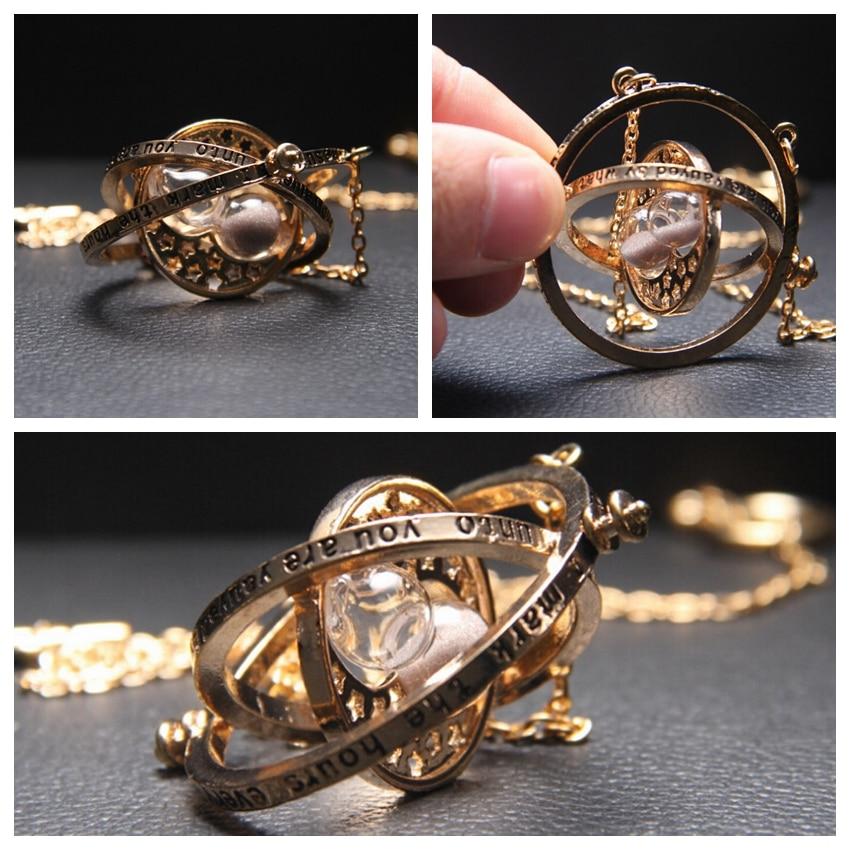 Harri Potter Movie Time Turner Hourglass Necklace Six Phalanx Magic Wand Keychain Pendant Metal Figure Toy Key Ring Necklace