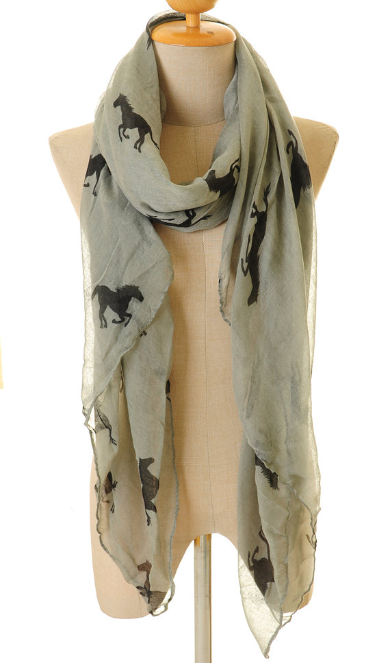 Black Voile Horse Infinity Scarf Summer Shawl Loop Circle Hijab Scarves Wraps