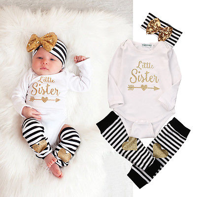 Newborn Kids Baby Girls Infant Romper Striped Socks Baby Girls Clothes Set Striped Girls 4PCS Set with Bow Headband 0-18 Months