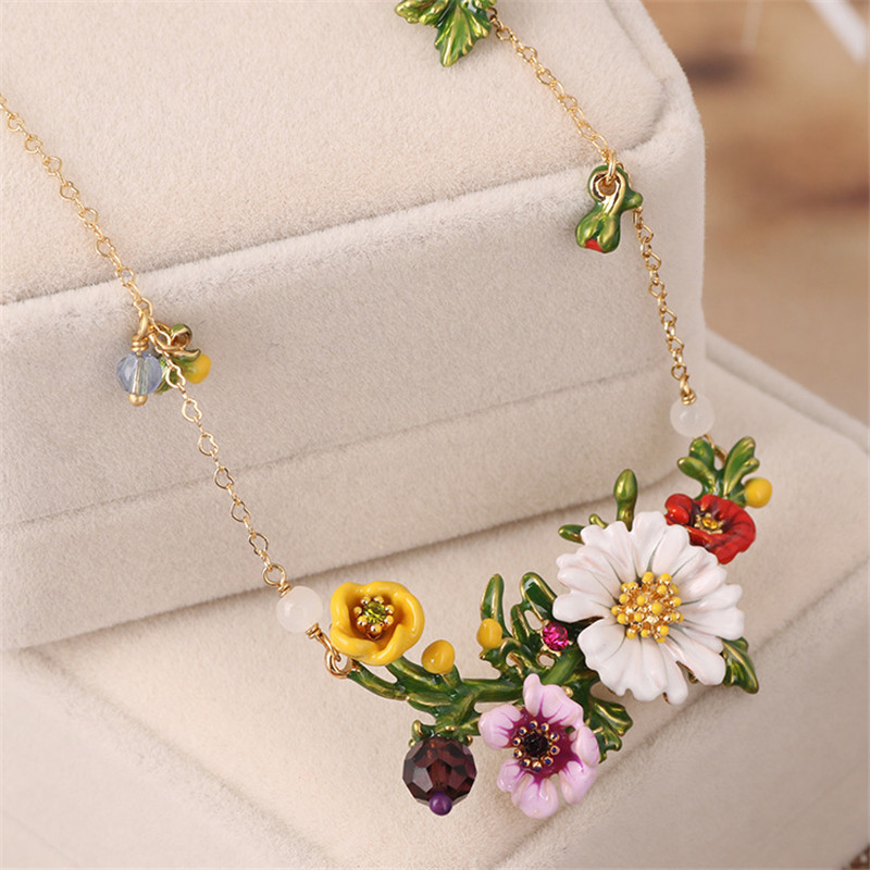 Warmhome Classic Jewelry Enamel Glaze Copper Romantic Red Rose White Chrysanthemum Daisy Flowers Gem For Women Necklace stylish fulled white daisy pattern scarf for women