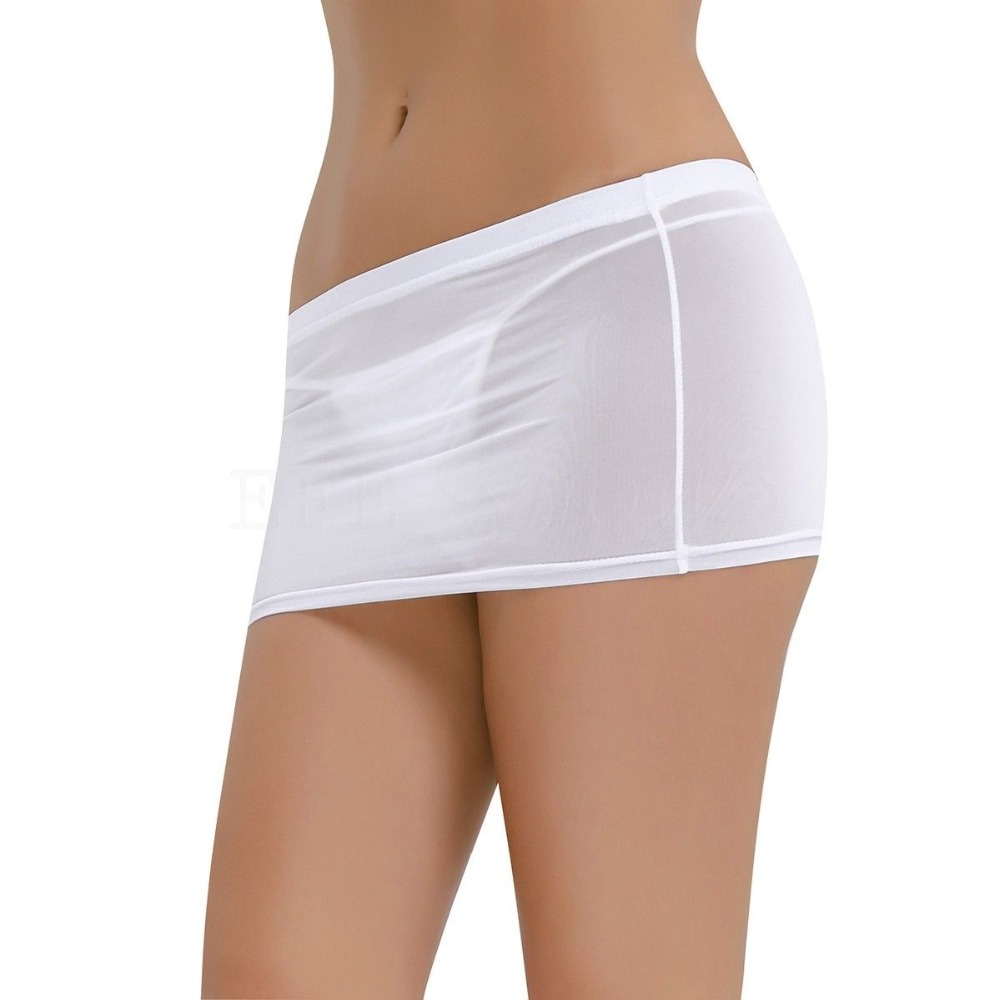 Women Sexy Sheer Opaque Micro Mini Skirt Slim Stretchy Up To Hip See-Through Fantasy Nightwear