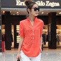 Mujer Nueva Llegada Regular Moda Cortocircuito de La Gasa Blusas y Camisas de Cuello Mao Ninguno Regular Solid Color Natural 8013