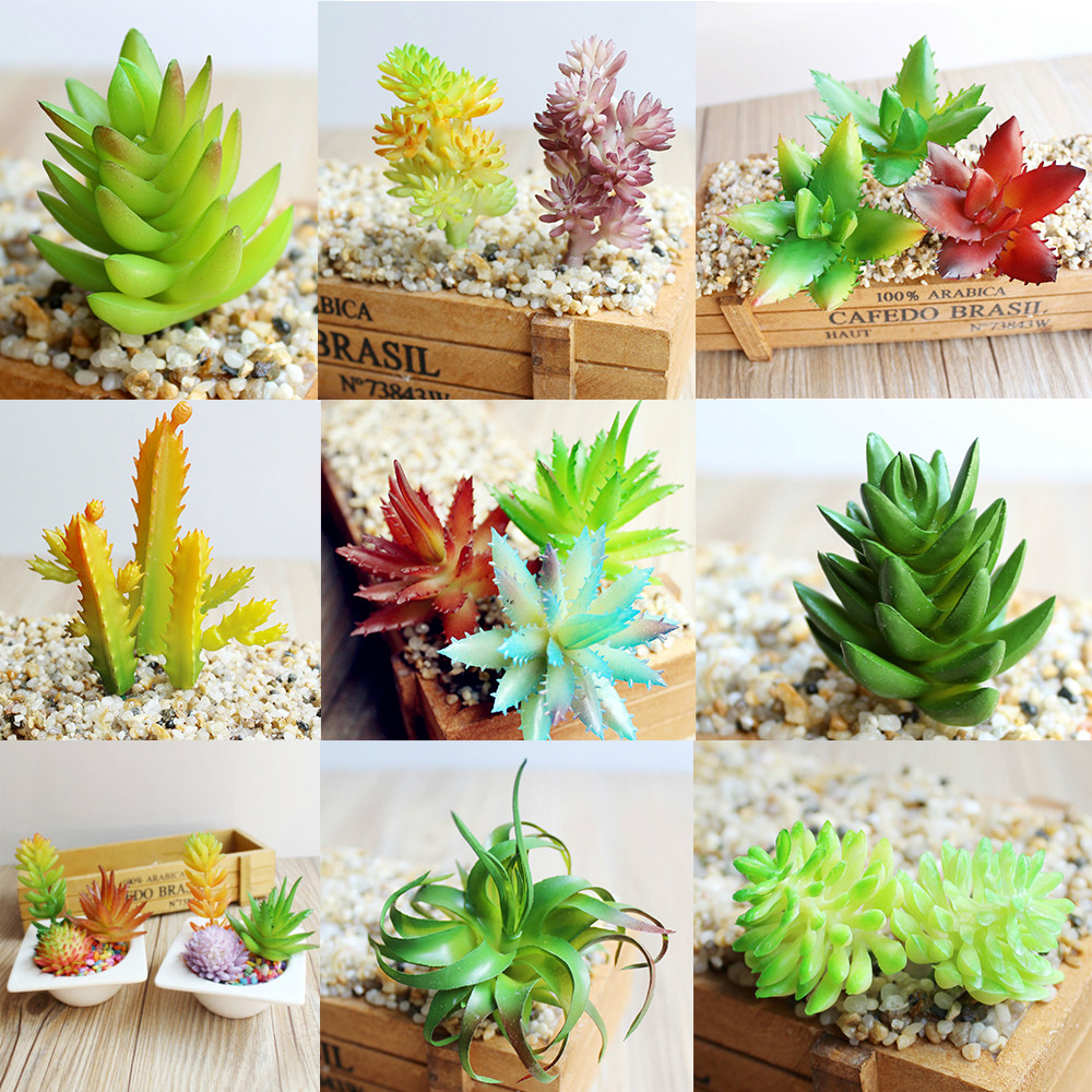 7 kinds artificial succulents plants grass desert for Landscape arrangement