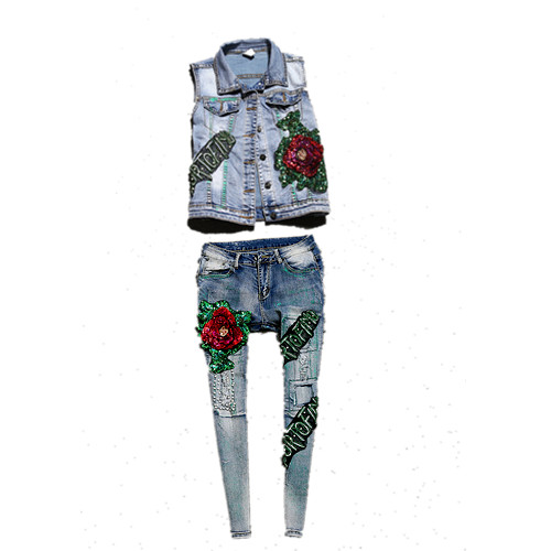 Belt Runway font b jeans b font clothing set heavy sequined big rose flowers vest and