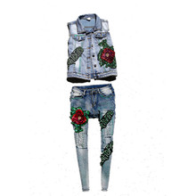 Belt! Runway jeans clothing set heavy sequined big rose flowers vest and appliques sparkle pencil denin jeans pants suits NZ43
