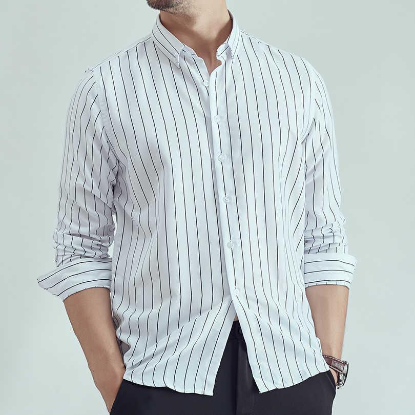 В полоску Одежда с длинным рукавом мужские мужская классическая рубашка осень