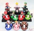 10 pçs/set Super Mario Bros Kart puxar carro figuras bonito PVC figuras coleção brinquedos para brinquedos ToyO0035