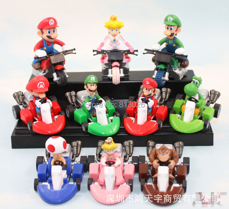 10pcs/set Super Mario Bros Kart Pull Back Car Cute figures PVC Collection figures toys for christmas gift brinquedos ToyO0035