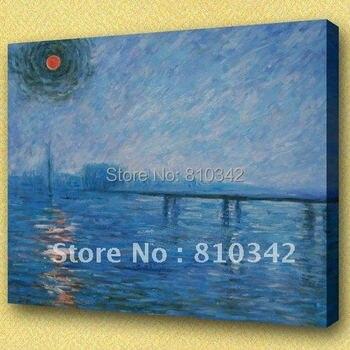 Monet's paintings,reproduction,soft colors,bridge,canvas art,handmade painting Monet39