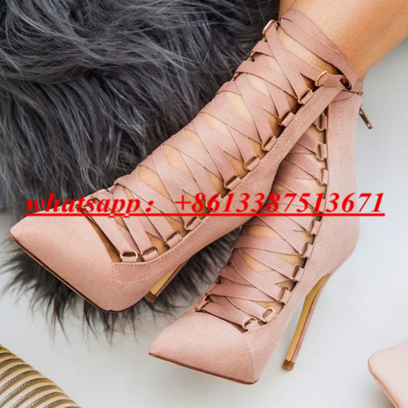 New Fashion Runway Lady Shoes Strappy Lace Up Suede Women Ankle Boots Pointed Toe Ribbon Pointy Stiletto High Heel Shoes Woman fashion pointed toe lace up mens shoes western cowboy boots big yards 46 metal decoration