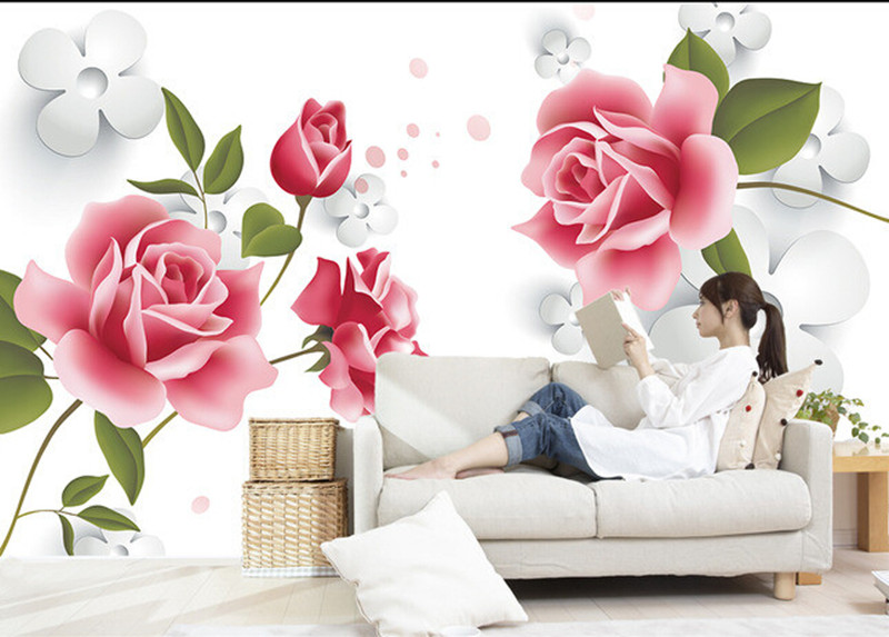 Custom 3d pink rose murals papel de parede,hotel restaurant coffee shop living room sofa TV wall bedroom 3d wallpaper flower недорого