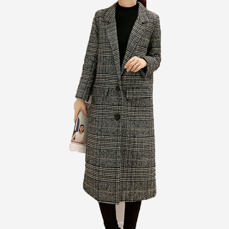 2017 Women Winter Woolen Cloth Coat Lattice Woolen Cloth Coat New Fashion Cashmere Coat Single-Breasted Long section Coat QH0236