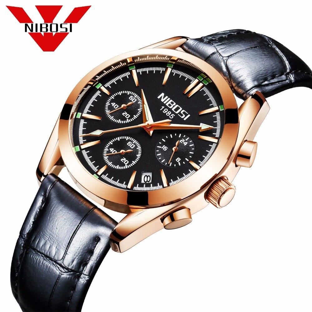 relogio masculino NIBOSI Men Watches Top Brand Luxury Business Quartz Waterproof Wristwatches Leather Strap Saat reloj hombre