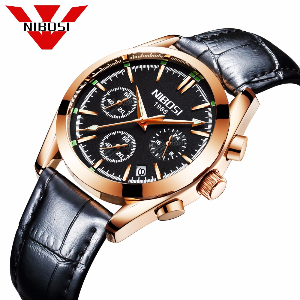 relogio masculino NIBOSI Men Watches Top Brand Luxury Business Quartz Waterproof Wristwatches Leather Strap Saat reloj hombre