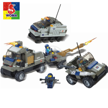 WOMA Military Educational Building Blocks Toys For Children Gifts Army Cars Weapon Compatible With Legoe