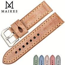 MAIKES correas de reloj de 22mm y 24mm, correa de cuero naranja vintage para reloj, accesorios de reloj, brida italiana de cuero para reloj Panerai