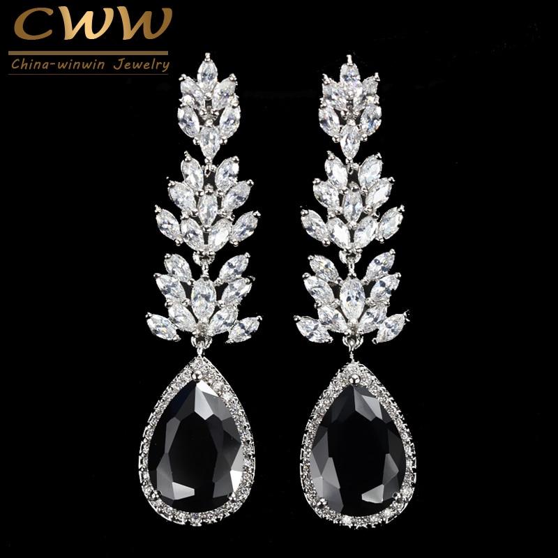CWWZircons Marca de Alta Calidad de Color Plata Largo Negro Pendiente de Gota de Cristal Moda Cubic Zirconia Joyería de Las Mujeres CZ382