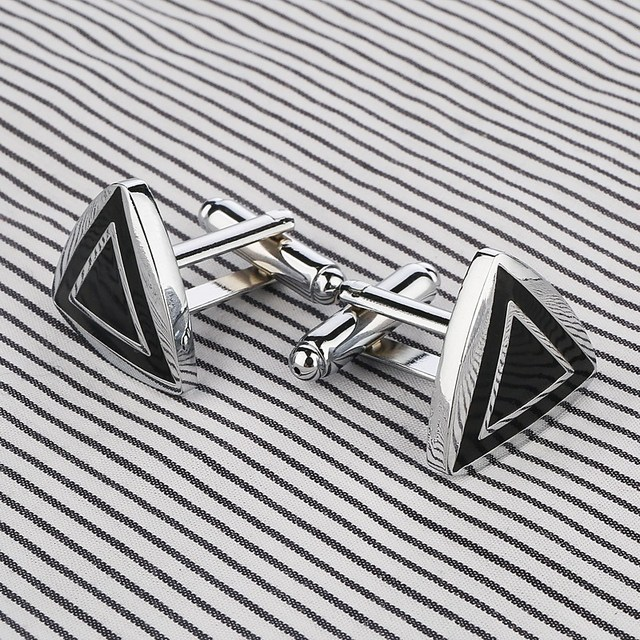 Stainless Steel Silver Triangle Vintage Wedding Gift Grid Laser Cufflinks
