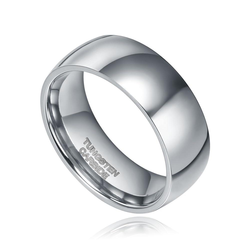 Somen Ring Men 8mm Gümüşü Rəngli Volfram Üzük Günbəz Cilalı - Moda zərgərlik - Fotoqrafiya 2
