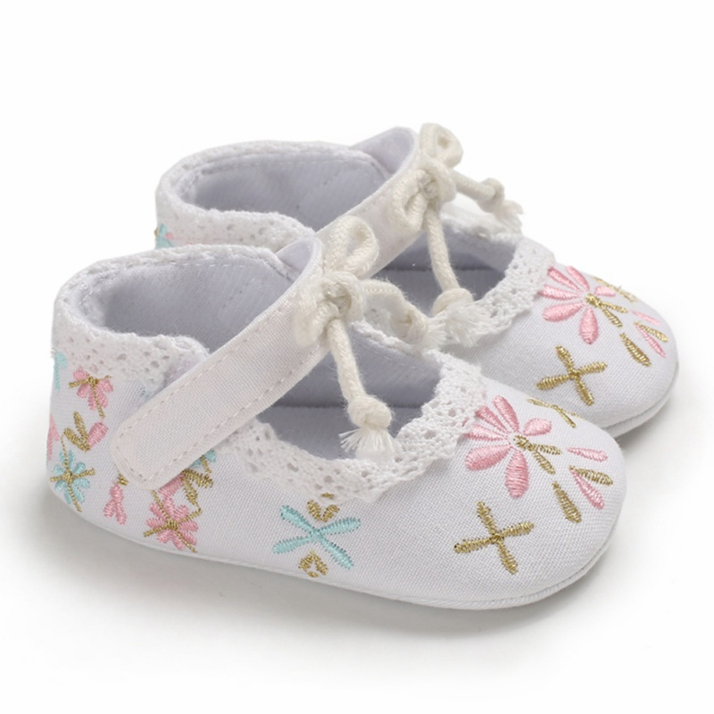 Mary Jane Ballet Baby Toddler First Walkers Princess Crib Floral Soft Soled Anti-Slip Embroidery Shoe Infant Newborn Girls Shoes