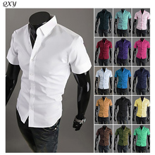 Hot Products! Free shipping 2016 new men's fashion casual short-sleeved shirt solid color men, Slim fashion shirt, size M-XXXL