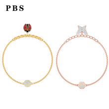 PBS High-quality 1:1 Exquisite Swa Jewelry 2019 New Butterfly Bracelet Logo Free Free Package Manufacturers Wholesale(China)