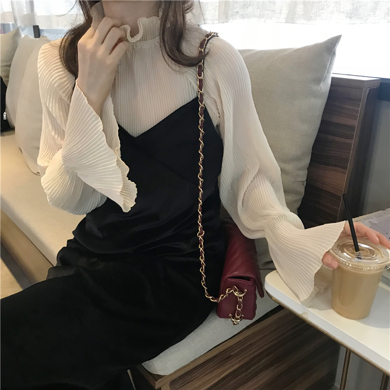 Autumn Dress 2018 Women Solid Color Chiffon Shirt+v Neck Sleeveless 2 Pcs Set Dress Womens (k704)
