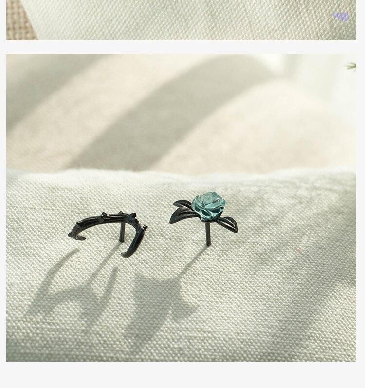 HTB1kKgEb56guuRjy1Xdq6yAwpXa2 Thaya s925 Silver Thorn Blue Crystal Rose Design Black Stud Earrings for Women Asymmetry Flower Earring Female Jewelry Gift