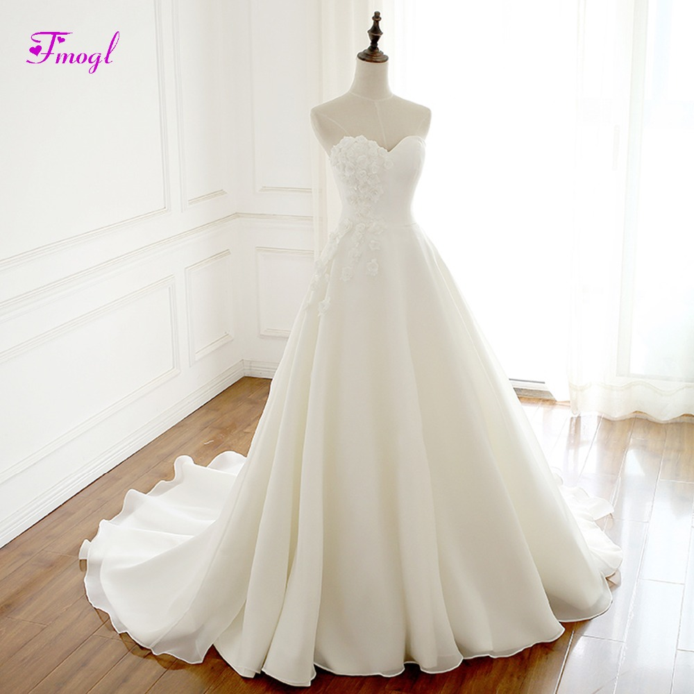 Discount A Line Wedding Dresses New Strapless Flower: Fmogl Sexy Strapless Lace Up A Line Princess Wedding