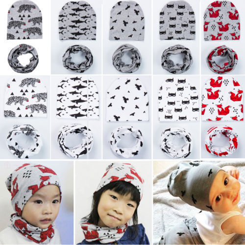 2018 Casual Baby Boy Infant Toddler Cotton Elastic Spring Autumn Hat Beanie Cap 2pcs