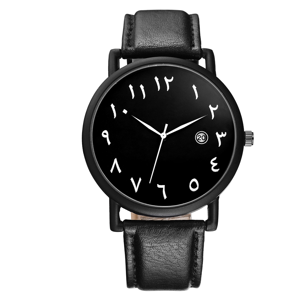 BAOSAILI Arab Numbers Scales Men Watch Big plate White Black PU leather watch with Calender BSL1034